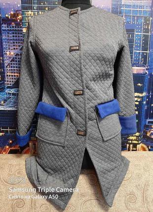 Кардиган пальто вставки замша плотное тянется, новое