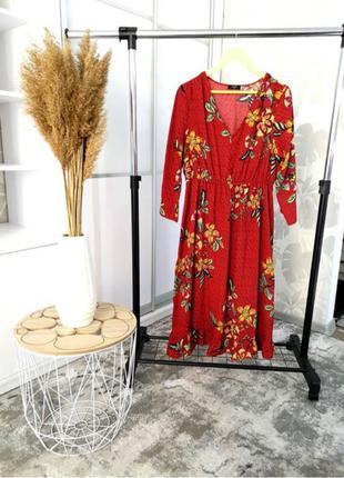 Платье красное размер 52 54 (18) , с длинным рукавом , в цветы
