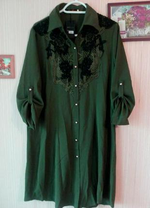 Платье-рубашка, туника цвета хаки, регулируемый рукав