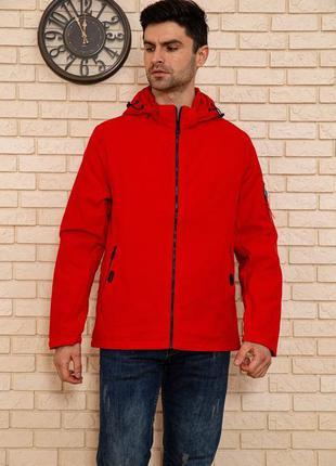 Куртка мужская с капюшоном демисезонная цвет красный