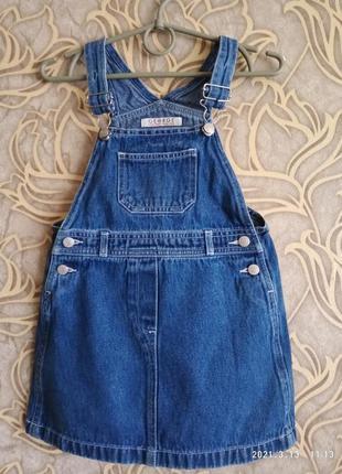 Отличная джинсовая юбка/ комбинезон george 2/3 года