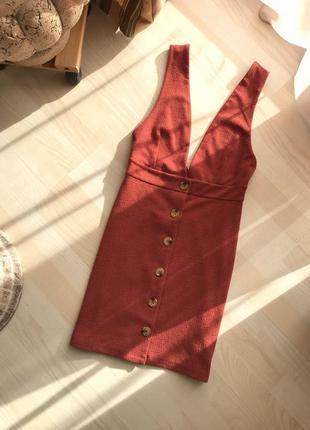 Терракотовый сарафан платье с пуговицами m-l