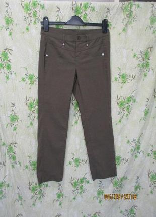 Стрейчевые укороченные штаны цвета хаки