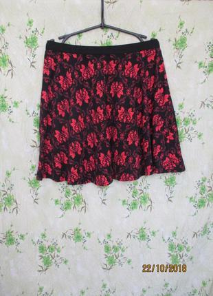 Красивая трикотажнаяя юбка полу солнце в цветочный принт
