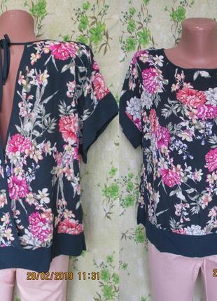 Стильный топ-блуза с открытой спинкой/цветочный принт
