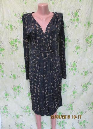 Стрейчевое платье на запах с длинным рукавом/принт