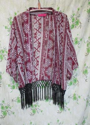 Стильная шифоновая накидка кимоно с бахромой/пляжная