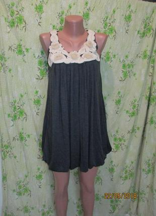 Трикотажное свободное платье с декором 42 рр
