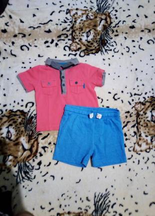 Яркий комплект для мальчика футболка и шорты 3-6+ мес