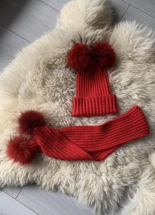 Новий набір шапка і шарф 4/8 роки унісекс