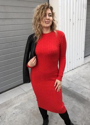 Стильное длинное красное платье, с-м, польша
