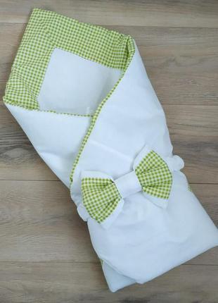 Красивое одеяло конверт на выписку для новорожденного