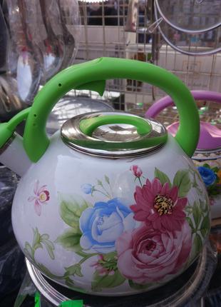 эмалированные чайники со свистком на 3.2л,на выбор