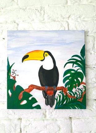 Картина птичка тукан акрил на холсте