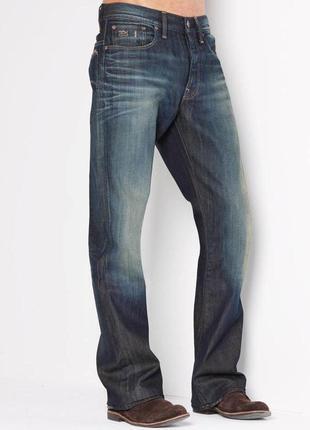 Джинсы синие w32 l30 *g-star raw* '3301 boot vintage aged'