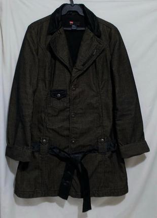 Куртка-парка зимняя золотисто-черная на холлофайбере *diesel* ...