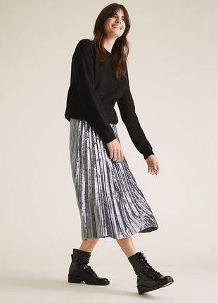 Вельветовая юбка плиссе длины миди m&s