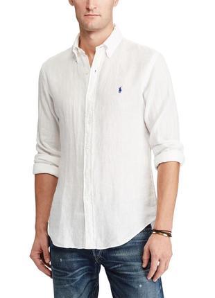 Новая рубашка белая батал (ог 176см) лен *polo by ralph lauren...
