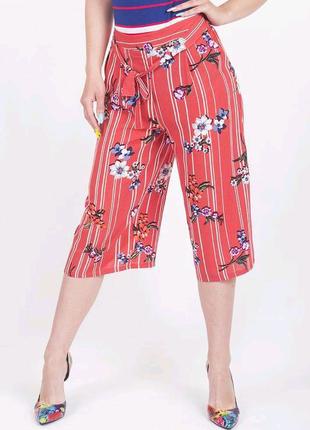 Летние шифоновые кюлоты брюки в цветочный принт Primark