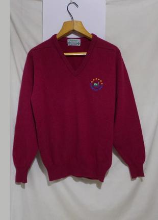 Новый свитер пуловер для гольфа малиновый чистая шерсть ягненк...