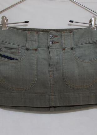 Юбка мини джинс хаки с градиентом люкс бренд *diesel* 26р