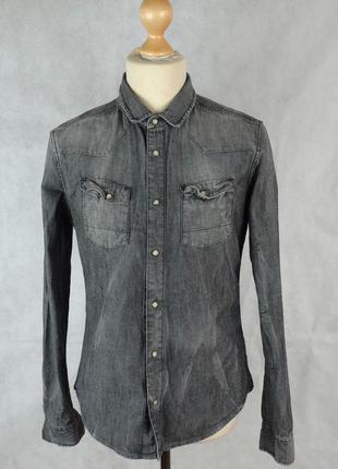 Рубашка джинсовая слим плотная тертая как новая *allsaints* lu...