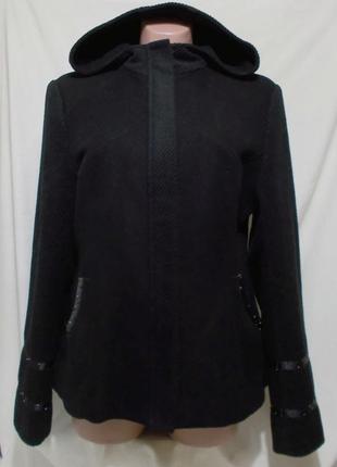 Пальто разнотекстурное с капюшоном шерсть черное *repeat* 48-50р