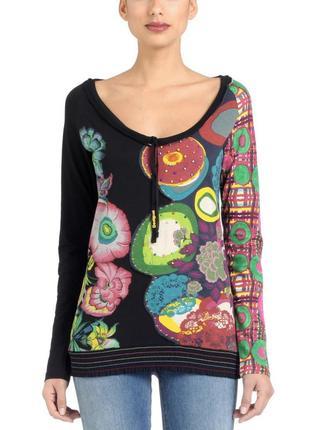 Блуза-туника цветочный принт, бисер *desigual* 44-46р
