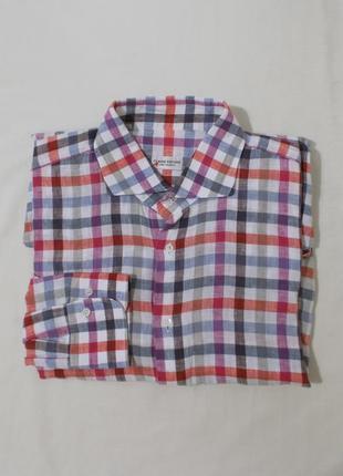 Рубашка ручной работы льняная клетчатая *claude dufour* xl 54-56р
