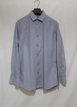 Рубашка бело-фиолетовая полоска *paul smith* 46-48р