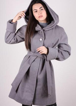 Пальто женское демисезонное кашемир с капюшоном большой размер...