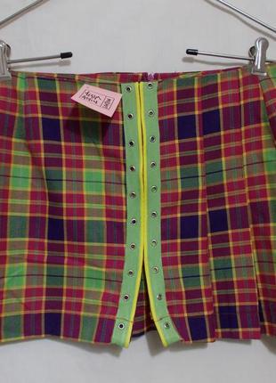 Озорная клетчатая юбка-мини шотландка килт новая 44-46р