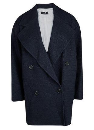 Пальто черно-синее двубортное твид букле *joseph* 40-46р