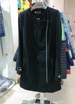 Пальто женское черное без капюшона новое демисезонное кашемир ...