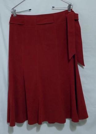 Новая юбка-годе с поясом рубиновая/бордовая под замшу *bhs* 46...