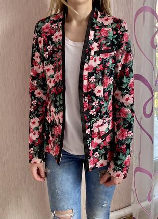 Женский цветочный жакет-пиджак orsay (хлопок, размер m)
