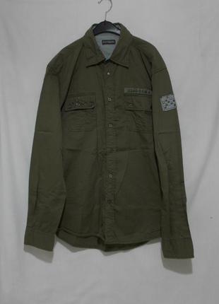 Новая рубашка хаки милитари с заклепками 'scotch & soda' 52-54р