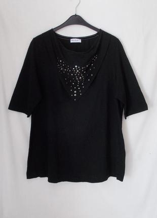 Новая блуза черная декор-заклепки 'ulla popken' 54-56р