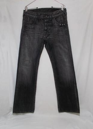 Джинсы плотные шипованные прямые серые w34 l34-36 *pepe jeans*