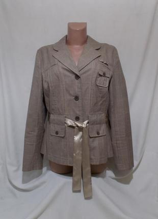 Новая куртка пиджак клетчатая с атласным поясом *rainbow bonpr...