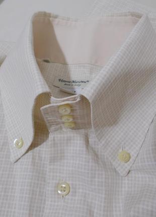 Рубашка слим бежевая текстурная мелкая клетка 'vittorio marche...