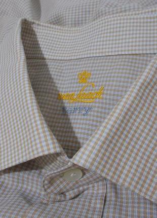 Рубашка статусная деловая бежевая в мелкую клетку 'van laack' ...