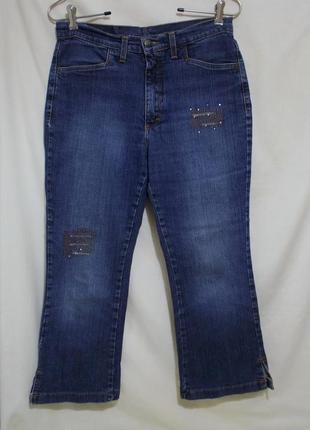 Джинсы капри тертые со стразами w31 *bessie jeans* италия