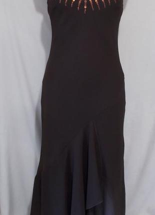 Yjdjt iикарное шоколадное шифоновое вечернее платье *yessica* 46р