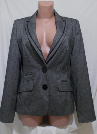 Жакет серый в елочку приталенный с отделкой *f&f* 46р