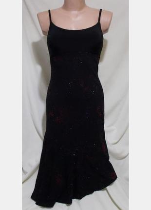 Роскошное коктейльное платье черное асимметричное узор 46р