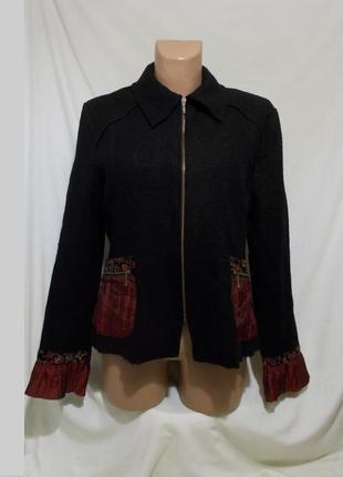Куртка-жакет новая черная декор шерсть *anne kelly* paris 48р