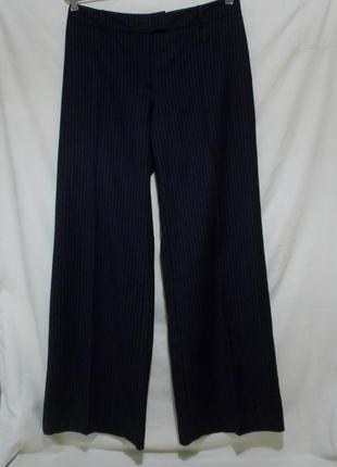 Роскошные брюки палаццо полоска темно-синие тонкая шерсть *hob...