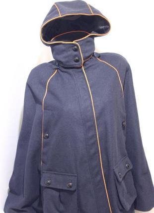 """Пальто пончо с капюшоном синее шерстяное """"blue"""" 44-48р"""