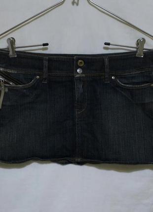 Новая юбка мини джинсовая в ржавых пятнах w28 *diesel*